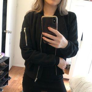 Petite Black Bomber Jacket
